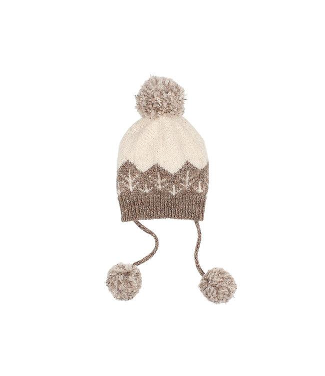 Forest baby knit hat - safari/ecru