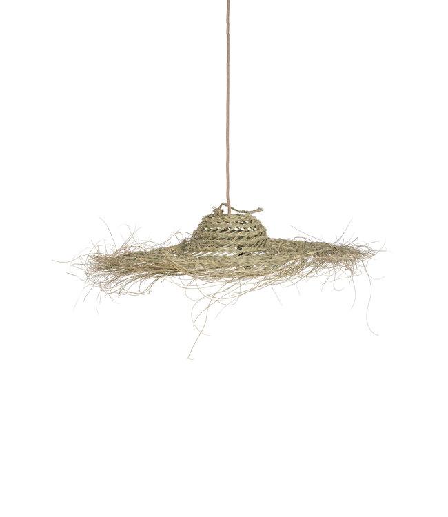 Hanglamp 'chapeau' zeegras met franjes