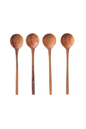 Teak thin spoons, small - set of 4