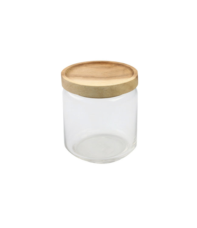 Glazen bokaal met acacia deksel, medium