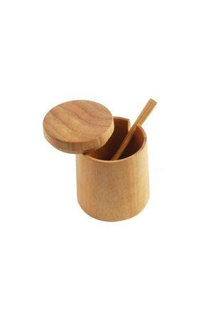 Teak round cellar with lid & spoon