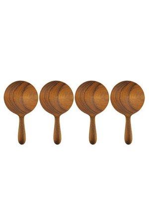 Teak round spoons, small, set of 4