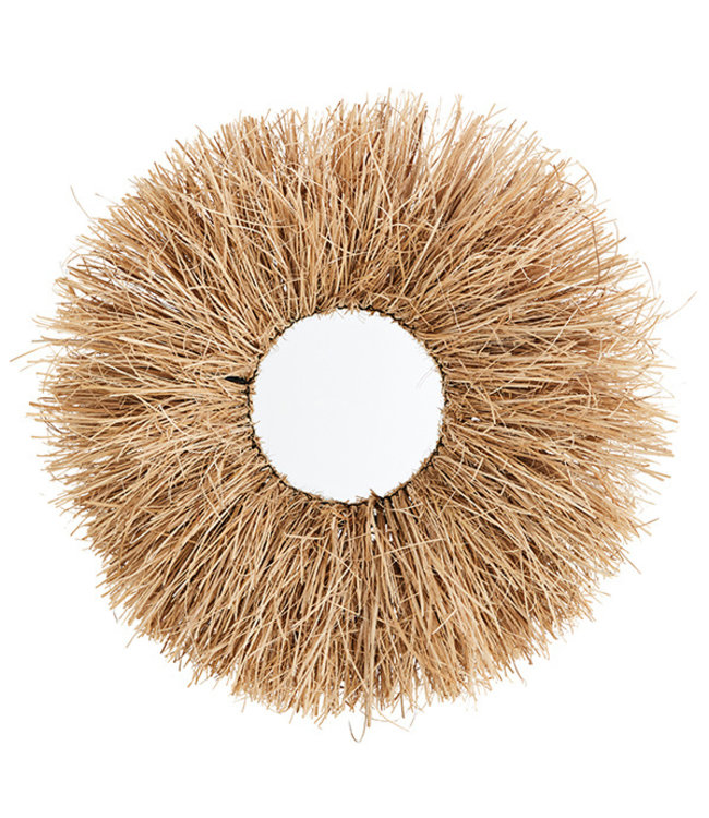 Round mirror with grass frame