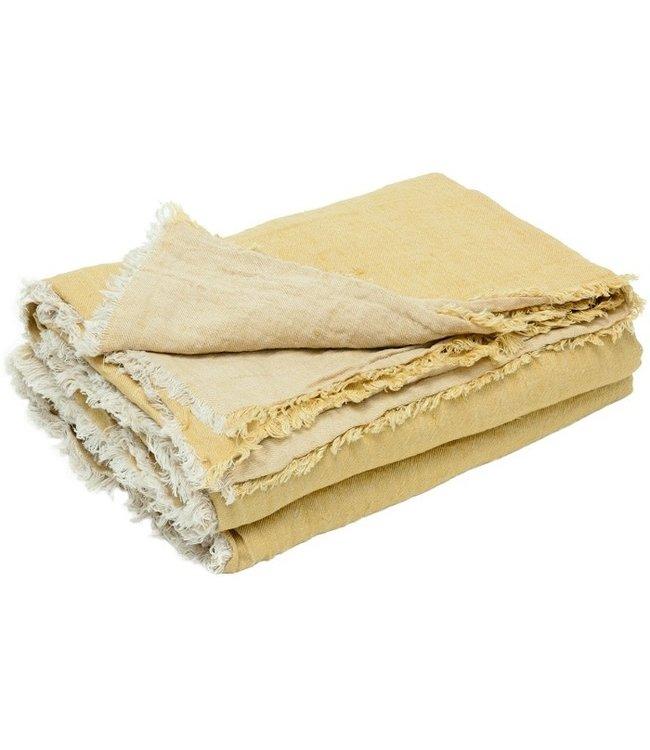Plaid vice versa met franjes, gekreukt gewassen linnen - paille/ givré