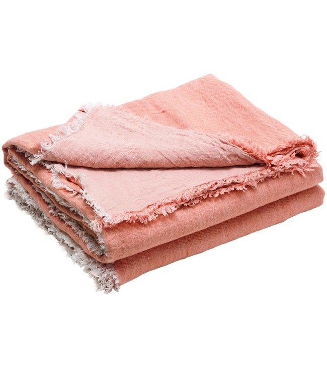Throw vice versa fringed, crumpled washed linen - melon/givré