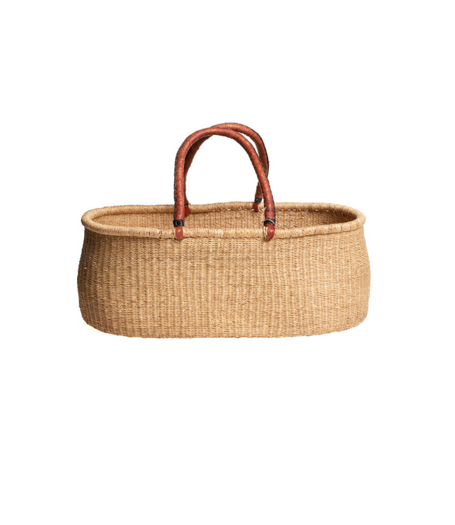 Bolga mozes straight basket with brown leather handles