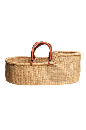 Bolga mozes basket with brown leather handles
