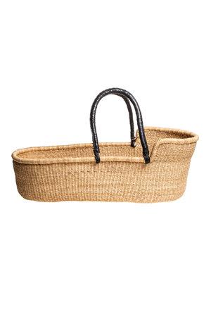 Bolga Mozes basket with black leather handles