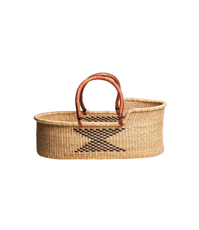 Bolga mozes basket with brown leather handles & patern