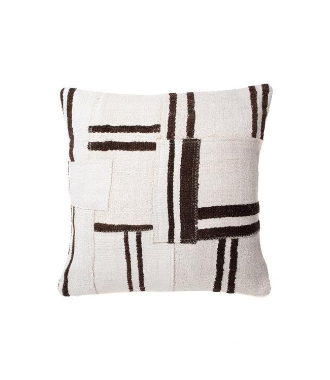 Kilim cushion ecru with brown stripes - 60 x 60cm - Turkey