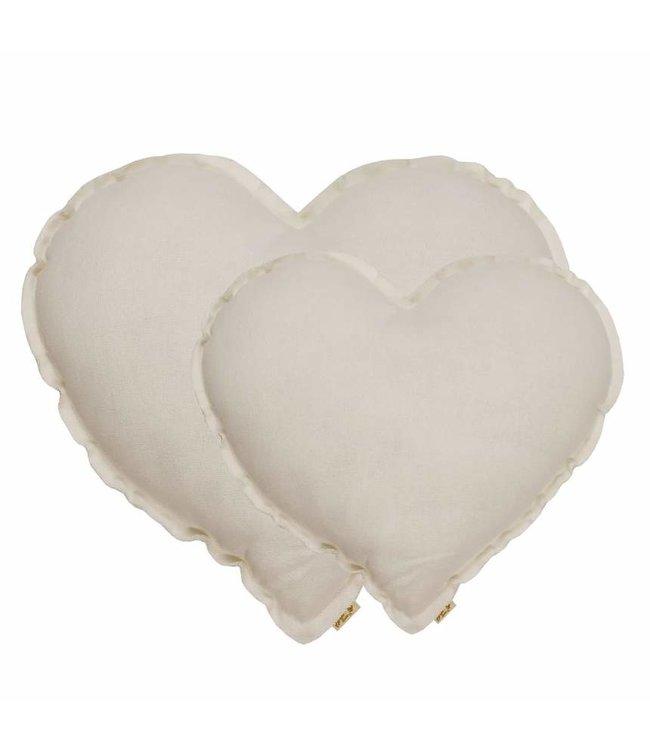 Heart cushion - natural