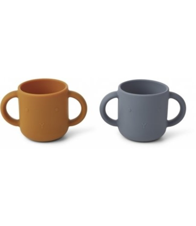Liewood Gene silicone cup 2 pack - rabbit blue wave