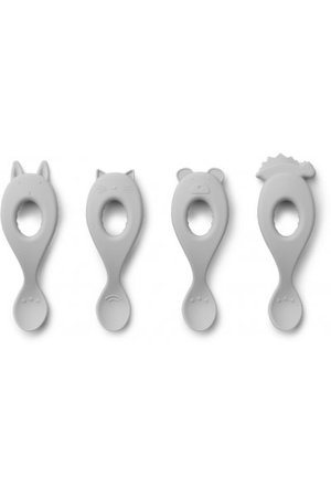 Liewood Liva silicone spoon 4 pack - dumbo grey