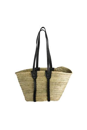 Tine K Home Shopping basket w. long leather handles S - black