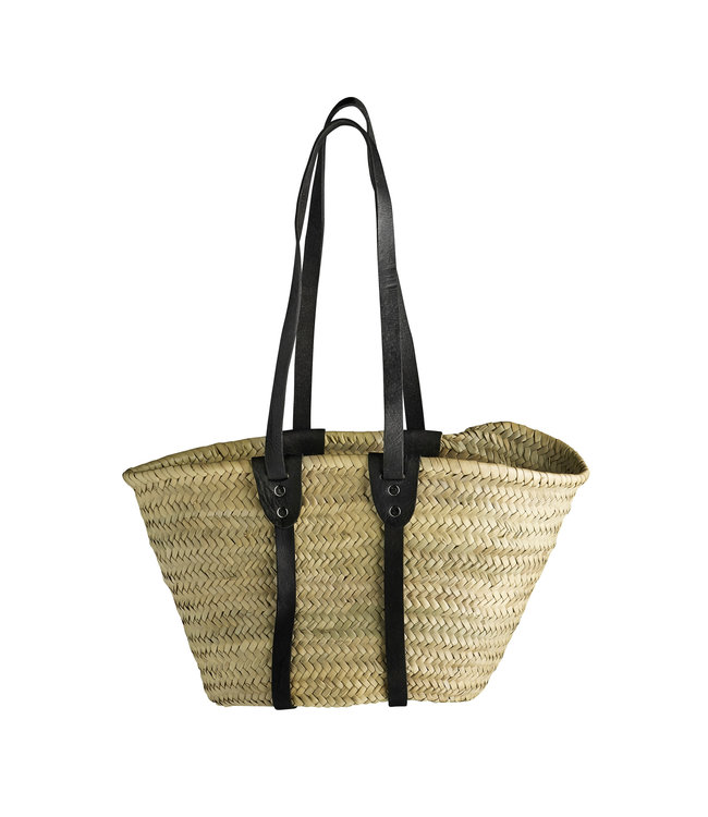 Shopping basket w. long leather handles S - black