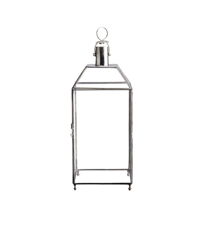 4-sided glass lantern, silver