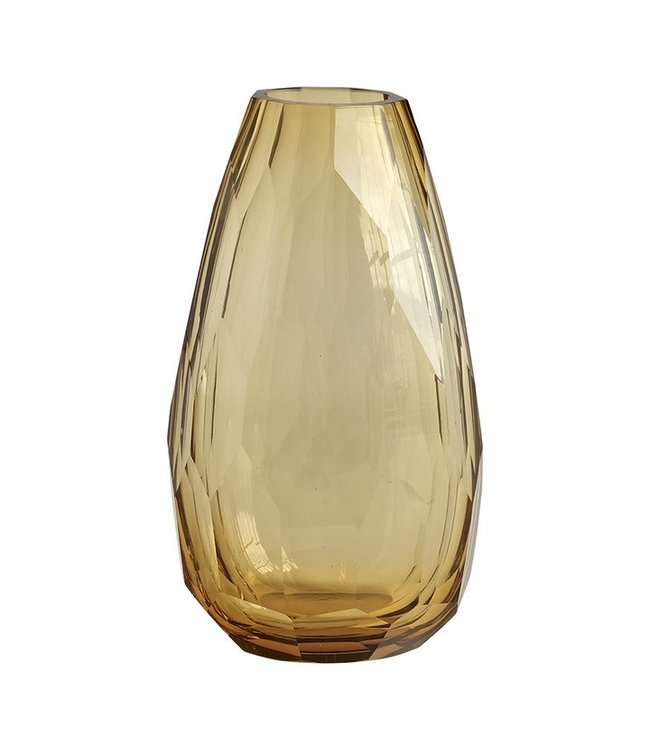 Heavy crystal vase  amber