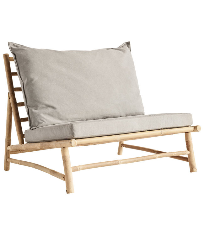 Bamboo lounge chair with grey cushions