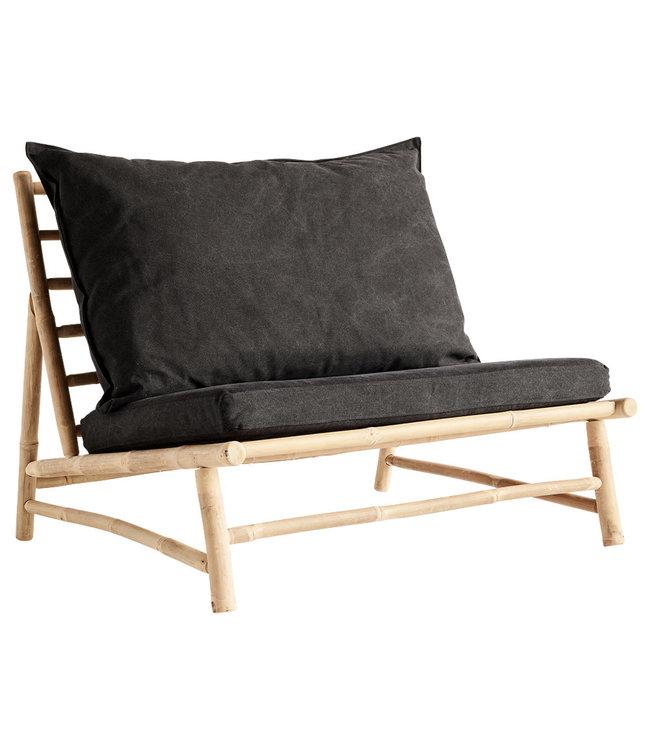 Tine K Home Bamboe lounge stoel met donkergrijze kussens