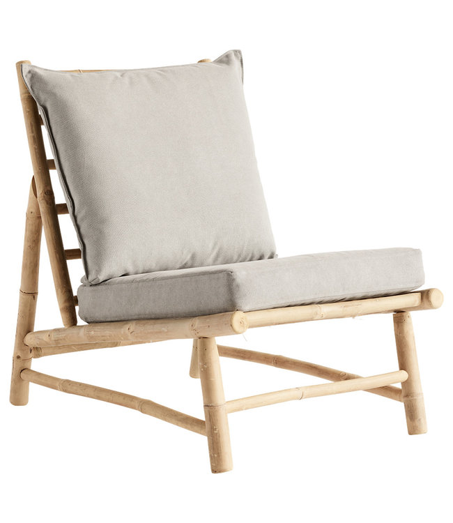 Bamboo chair with grey cushions
