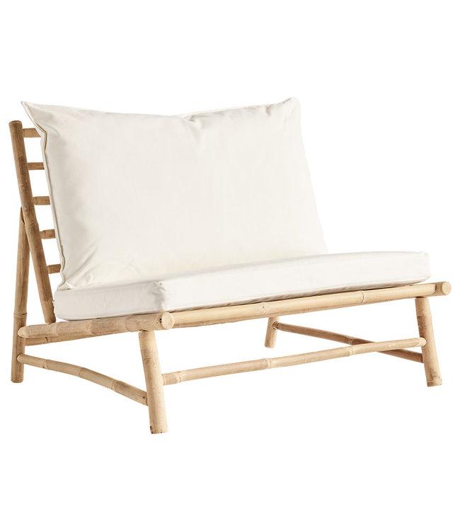 Tine K Home Bamboe lounge stoel met witte kussens