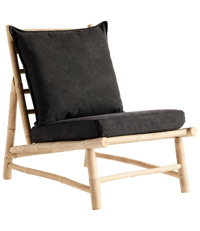 Tine K Home Bamboe  stoel met donkergrijze kussens