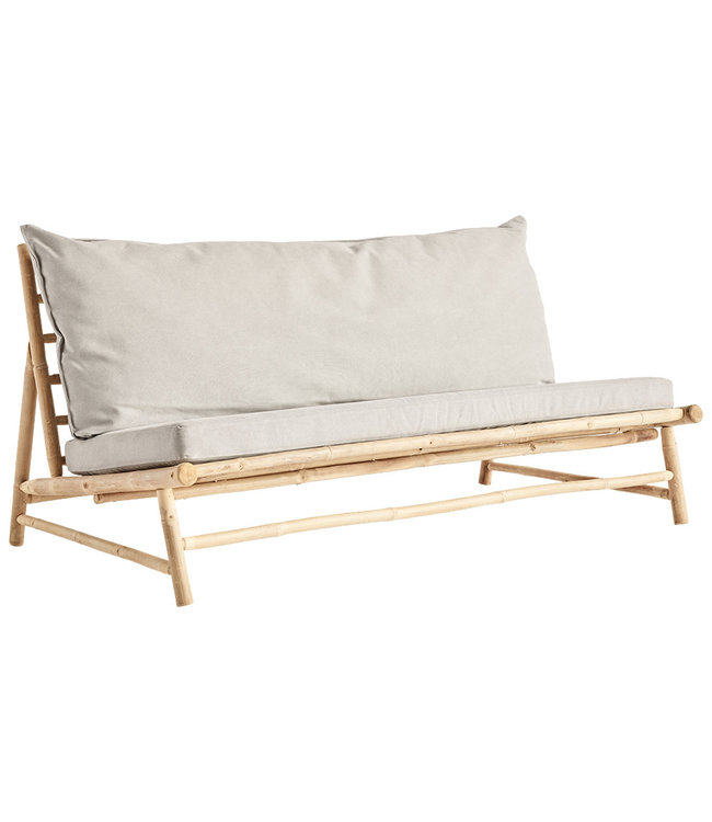 Bamboe lounge zetel met grijze kussens