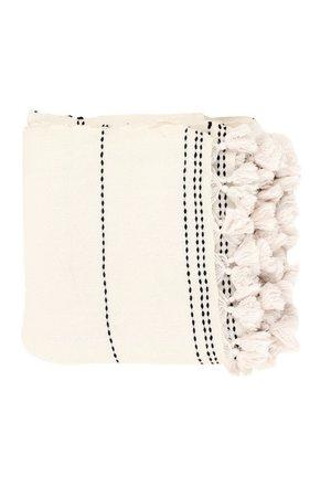Caravane Hand-woven cotton bedspread 'Belya' - white/black