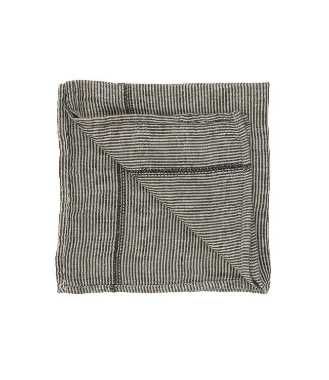 Napkin Noé, washed linen - laurier stripes
