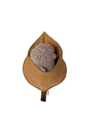 Maileg Baby hedgehog in leaf