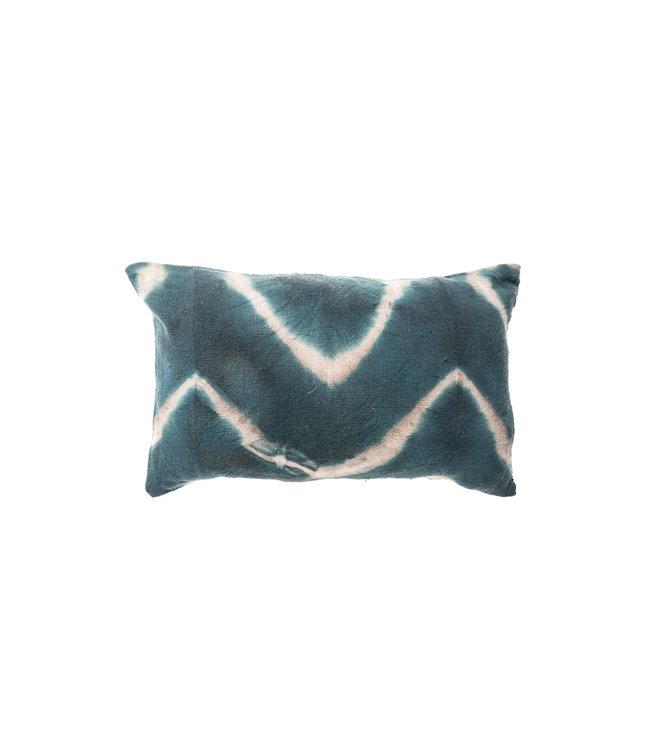 Kussen visgraat - eendenblauw