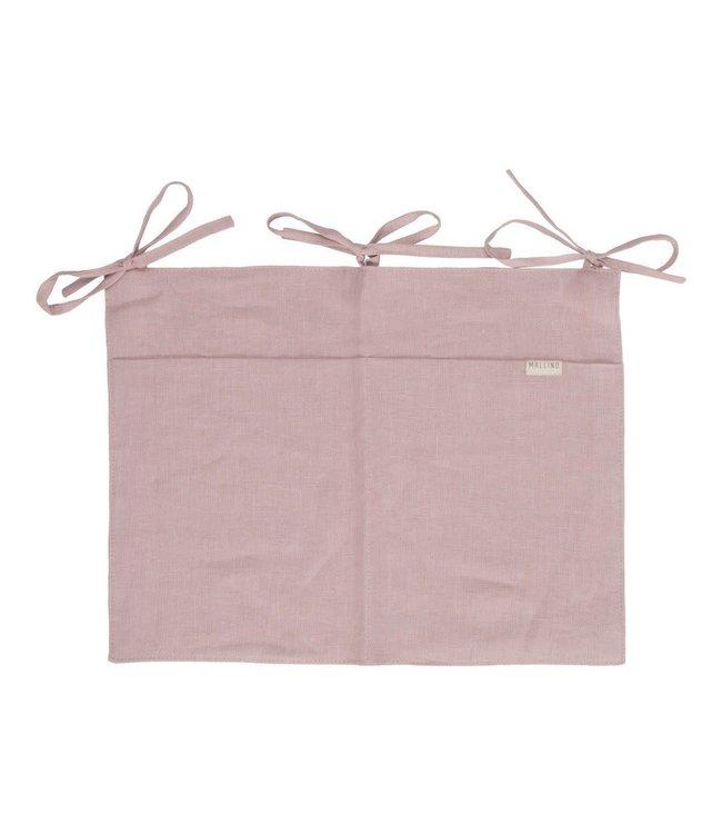 Linen crib organizer - powder pink