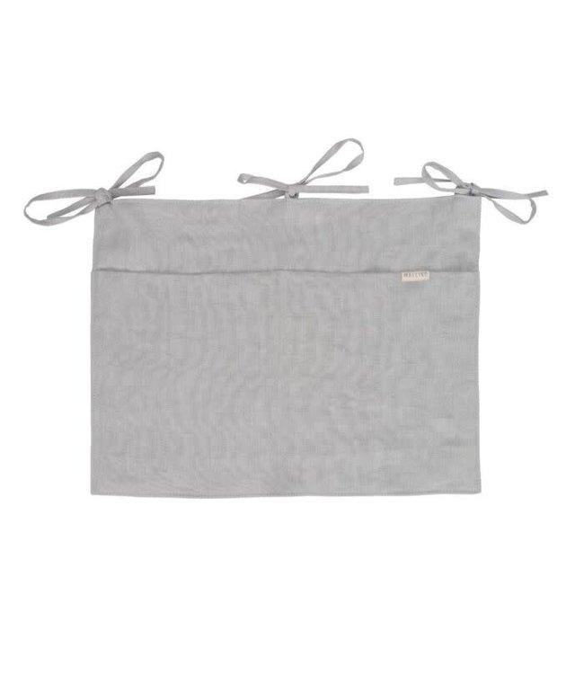 Linnen bedrand opbergzak- misty grey