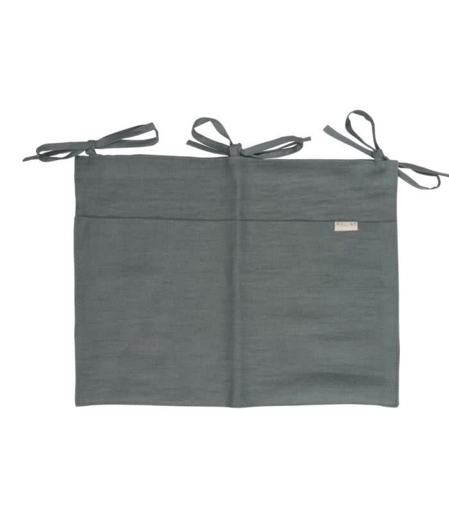 Mallino Linen crib organizer - steel blue