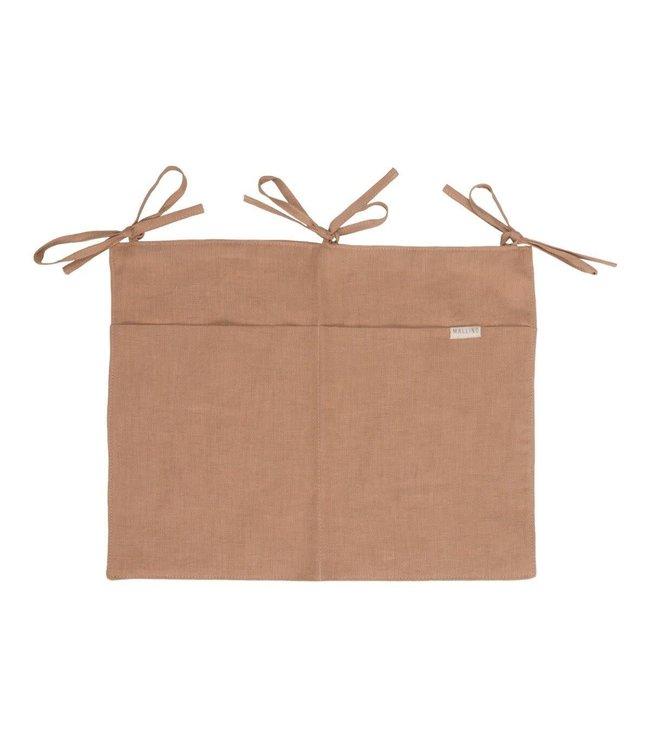 Mallino Linen crib organizer - cinnamon