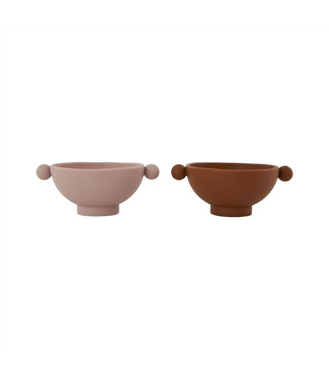 Tiny inka bowl, pack of 2 - caramel/rose