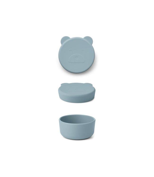Liewood Carrie snack box - mr bear sea blue