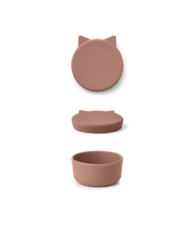 Liewood Cornelius snack box - cat dark rose