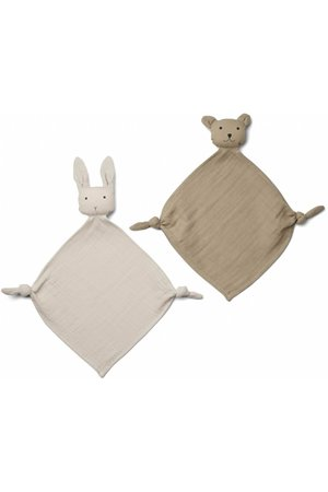 Liewood Yoko mini knuffeldoek 2 pack - sany/stone beige