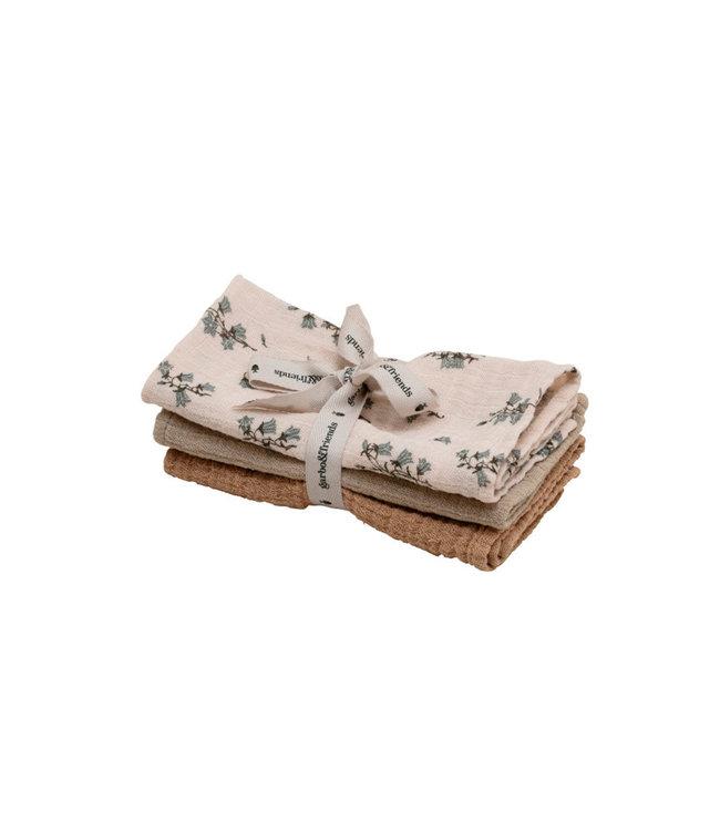 Bluebell burp cloths  - set of 3