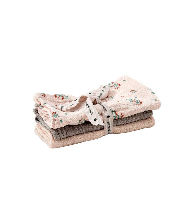 Clover muslin burp cloth - set van 3