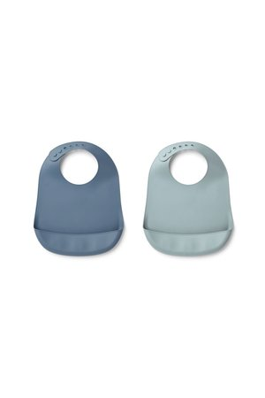 Liewood Tilda silicone bib solid 2 pack - blue wave/sea blue mix