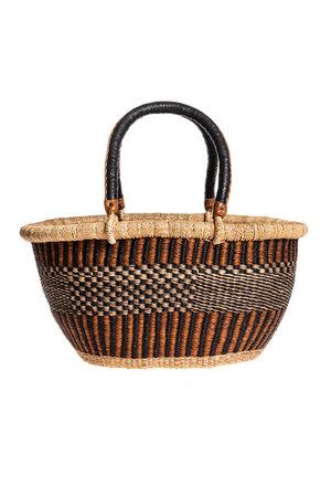 Bolga oval basket with leather handle #1