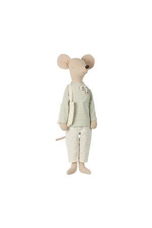 Maileg Mega mouse in nightwear w/toothbrush set - mint