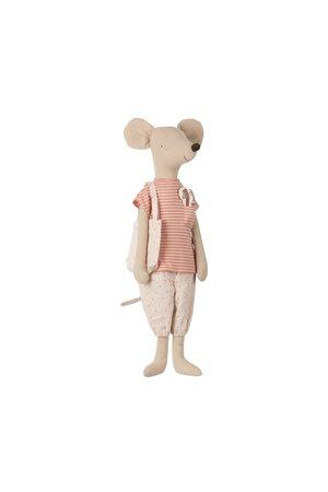 Maileg Mega mouse in nightwear w/toothbrush set - rose