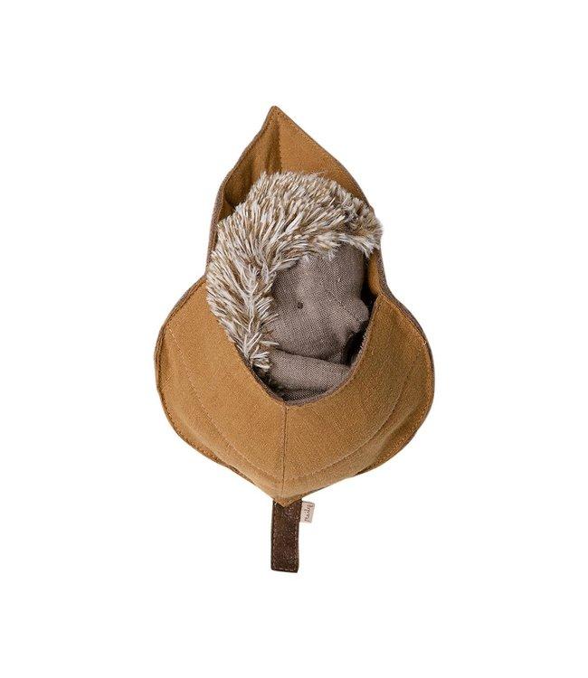 Maileg Hedgehog in leaf - big