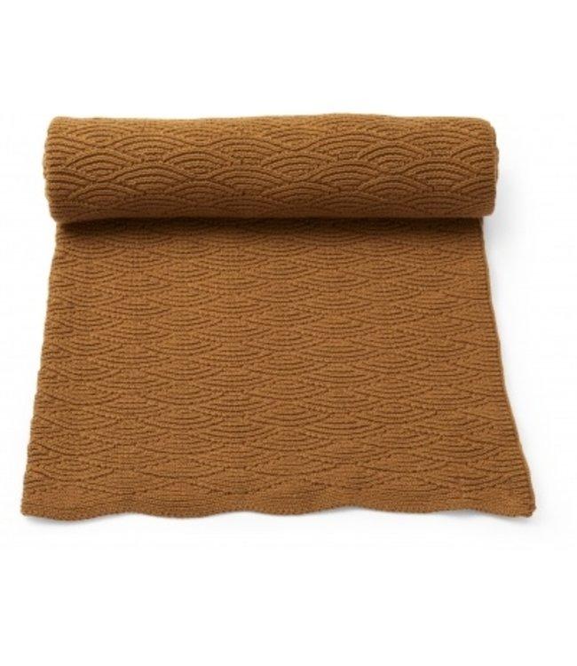 Pointelle cotton blanket - dijon