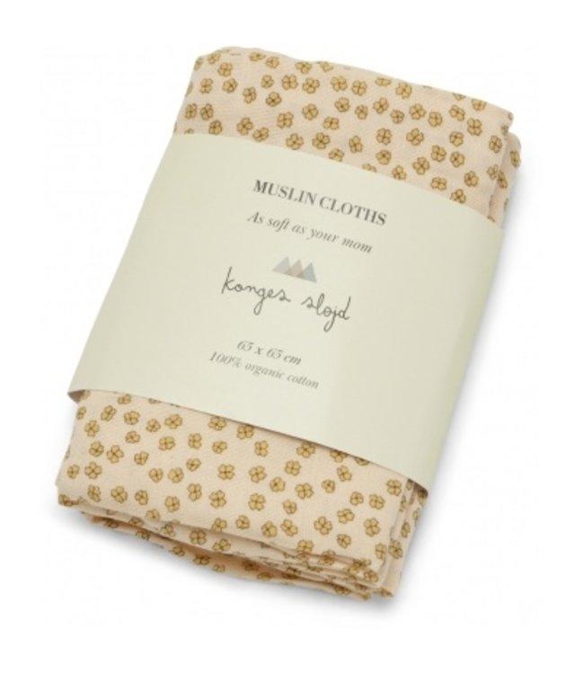 3 Pack muslin cloth - buttercup yellow