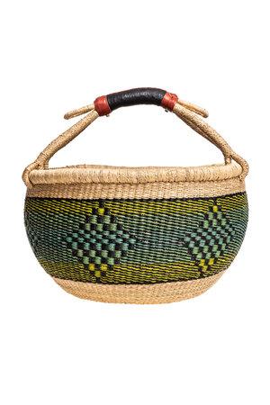 Bolga basket with leather handle #4