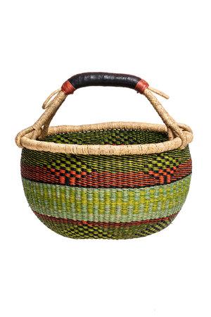 Bolga basket with leather handle #5